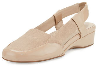 Taryn Rose Kamillie Patent Demi-Wedge Pump, Nude $200 thestylecure.com
