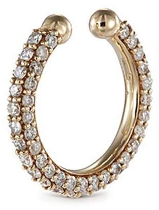 Lynn Ban 'Pave Orbital Hoop' diamond 14k yellow gold single ear cuff