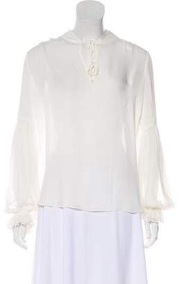 Haute Hippie Long Sleeve Silk Top