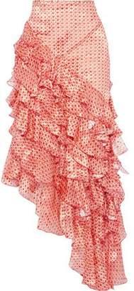 Antonio Berardi Asymmetric Ruffled Printed Fil Coupe Chiffon Maxi Skirt
