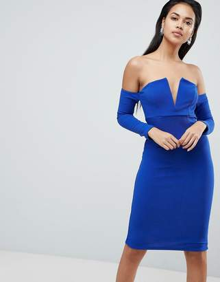 Bardot Asos Design ASOS V Bar Textured Midi Dress