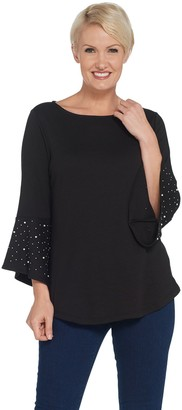 Factory Quacker Bell Sleeve Knit Tunic with Faux Pearl Detail