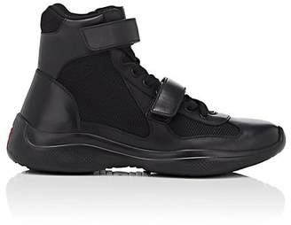 Prada Men's Double-Strap Leather & Mesh Sneakers