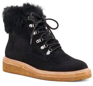 Botkier Women's Winter Leather & Fur Lace Up Booties