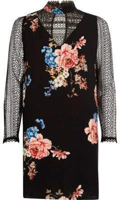 River Island Black floral print lace insert swing dress