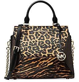 Michael Kors Women's Large Prism Leopard-Print Calf Hair Leather Satchel