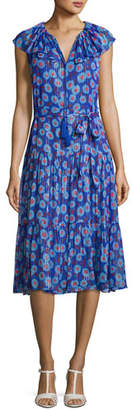 Kate Spade Sleeveless Metallic & Floral Silk Chiffon Dress, Blue