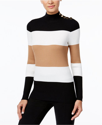 INC International Concepts Mock-Neck Button-Trim Sweater, Only at Macy's $59.50 thestylecure.com
