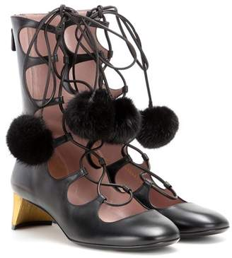 Gucci Heloise embellished lace-up leather ankle boots
