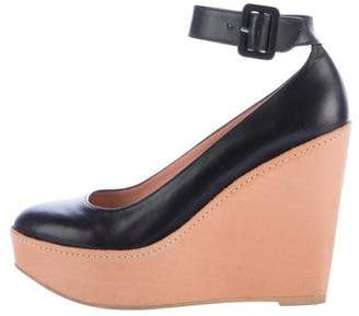 Robert Clergerie Leather Ankle Strap Wedges