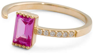 Made In Usa 14k Gold Emerald Cut Cz Milgrain Open Ring