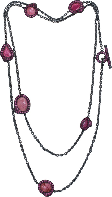 Yossi Harari Lilah Ruby Slice Chain Wrap Necklace