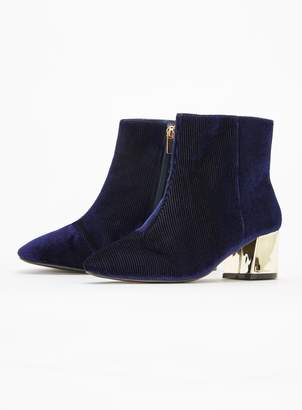 4fe69bb56ae at Evans · Evans Extra Wide Fit Navy Blue Flared Heel Ankle Boots