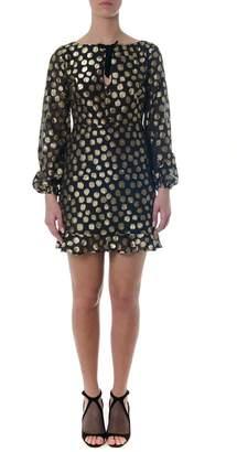 For Love & Lemons Black Tulle Dress With Gold Pois