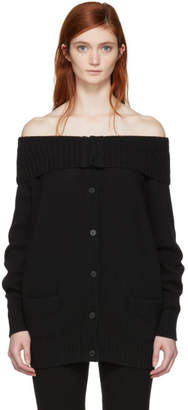 Prada Black Long Off-the-Shoulder Cardigan