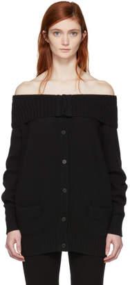 Prada Black Long Off-the-Shoulder Cardigan