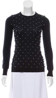 Lela Rose Wool-Blend Embellished Sweater