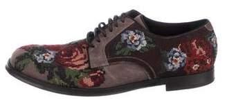 Dolce & Gabbana Velvet Floral Derby Shoes