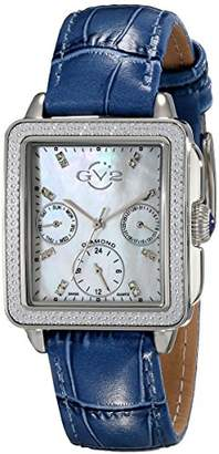 GV2 by Gevril Bari Multi Womens Diamond Chronograph Swiss Quartz Rectangle Blue And White Leather Strap Watch