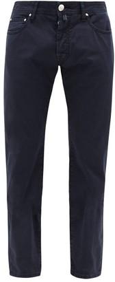 Jacob Cohen Slim Leg Cotton Blend Chino Trousers - Mens - Blue
