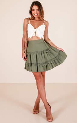 Showpo Like The Rain skirt in khaki linen look