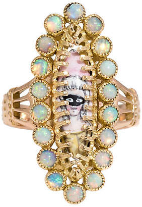 One Kings Lane Vintage 18K French Masquerade Opal Ball Ring - Precious & Rare Pieces