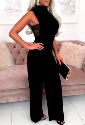 Pink Boutique Miss Seduction Black High Neck Lace Detail Stretchy Jumpsuit