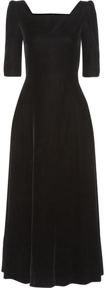 Saint LaurentSaint Laurent - Velvet Midi Dress - Black