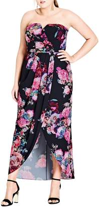 City Chic Romantic Rose Strapless Maxi Dress