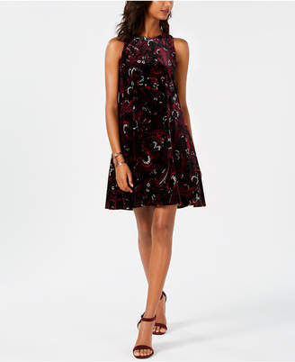 Nine West Printed Burnout Trapeze Dress