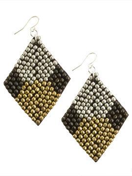 Beaded Diamond Shape Earring