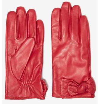 Dorothy Perkins Womens Red Ruched Leather Knot Gloves