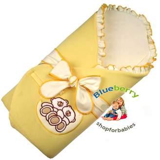Blueberryshop BlueberryShop Velour Embroidered Swaddle Wrap/Blanket with Stiffened/Hard Back for Newborn Baby