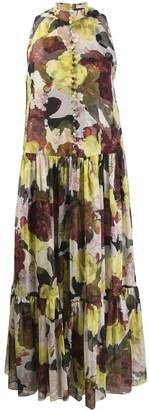 Erdem sleeveless ruffle floral dress