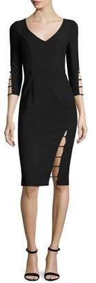 Black Halo 3/4-Sleeve Cutout Sheath Dress, Black