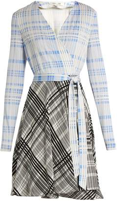 DIANE VON FURSTENBERG V-neck contrast-skirt wrap dress $538 thestylecure.com