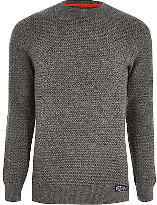 River Island Superdry grey textured sweater