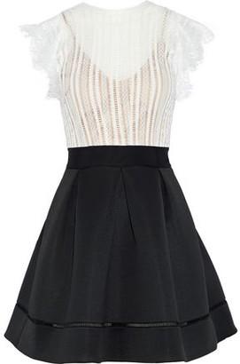 Catherine Deane Ina Lace And Pleated Neoprene Mini Dress
