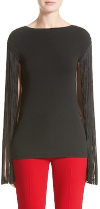 Women's Michael Kors Fringed Stretch Matte Jersey Tee $795 thestylecure.com