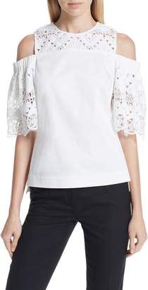 Ted Baker Taluah Mixed Lace Cold Shoulder Blouse
