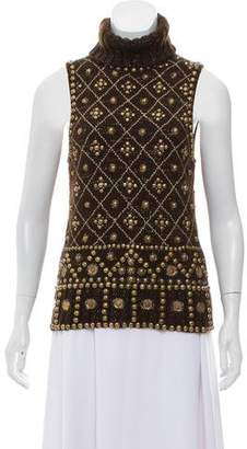 Oscar de la Renta Embellished Sleeveless Turtleneck