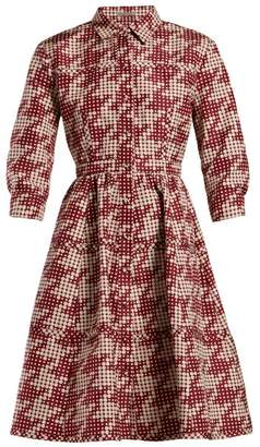 Bottega Veneta Geometric Print Panelled Shirtdress - Womens - Red White