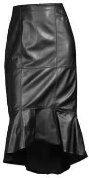 Alice + Olivia Kina Leather Flounce Pencil Skirt