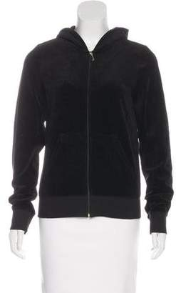 Juicy Couture Hooded Zip-Up Velour Sweater