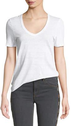 Etoile Isabel Marant Kranger Short-Sleeve Linen V-Neck Tee