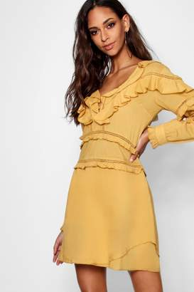 boohoo Ruffle Crochet Trim Detail A Line Dress