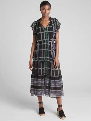 Gap Mix-Print Flutter Sleeve Midi Dress