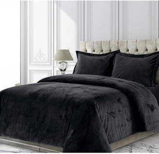 Tribeca Living Venice Velvet Oversized Solid Queen Duvet Cover Set Bedding