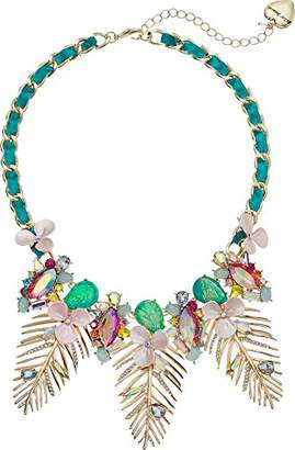 Betsey Johnson GBG)) Paradise Lost Women's Gold Leaf Frontal Necklace