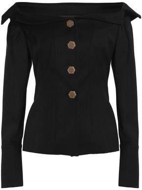 Off-The-Shoulder Cotton-Blend Twill Jacket